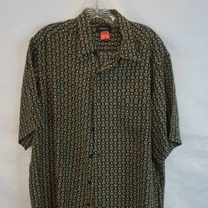 Claiborne Black Silk Geometric Button up Shirt L